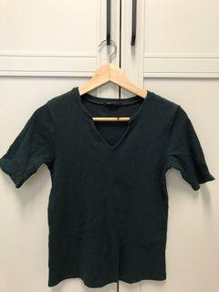 深綠v領針織上衣