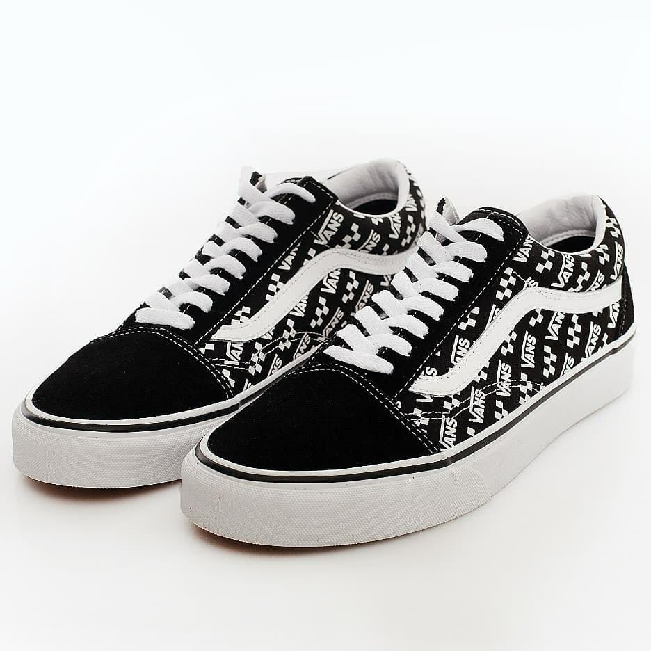 Vans - Old Skool (Logo Repeat) Black/True White - Shoes