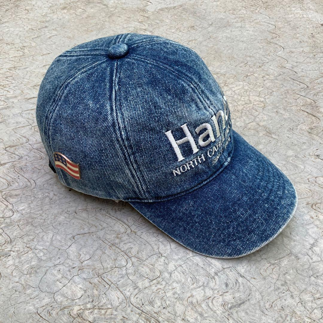 VINTAGE HANES DENIM CAP WITH PIN USA TOPI JEANS