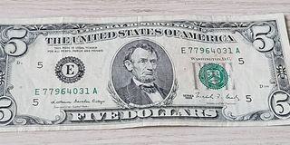 1988年 林肯版 5美元 已使用舊鈔