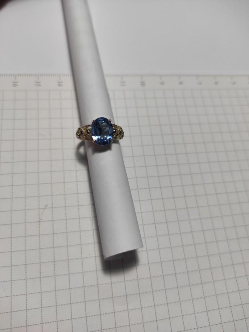 (戒圍 11 號)925純銀鑲鑽💎藍色,及小黑鑽💎