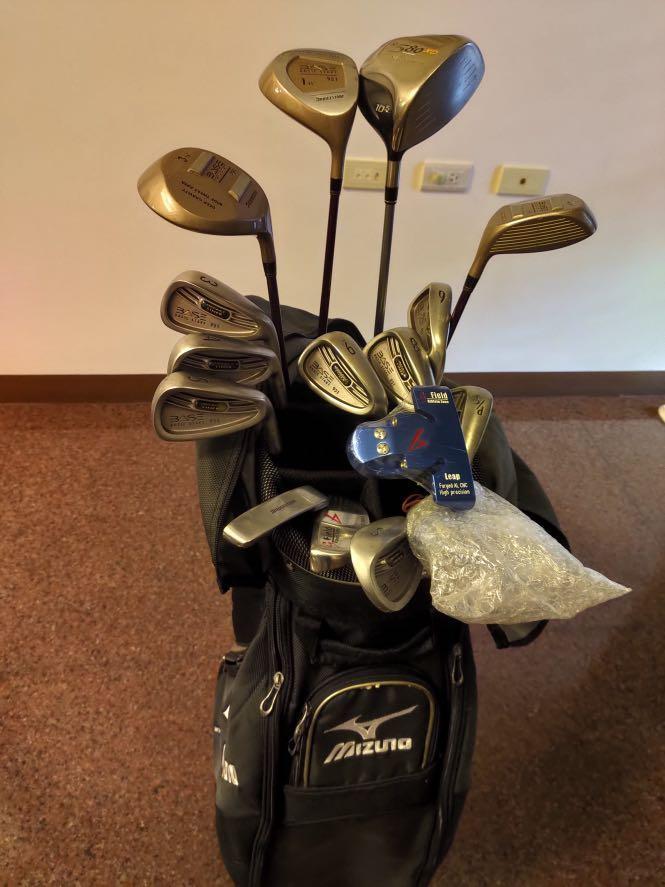 全套高爾夫球組  球桿 木桿 鐵桿 推桿 含mizuno球袋