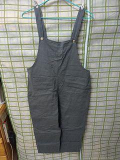 工裝吊帶褲 綠灰色