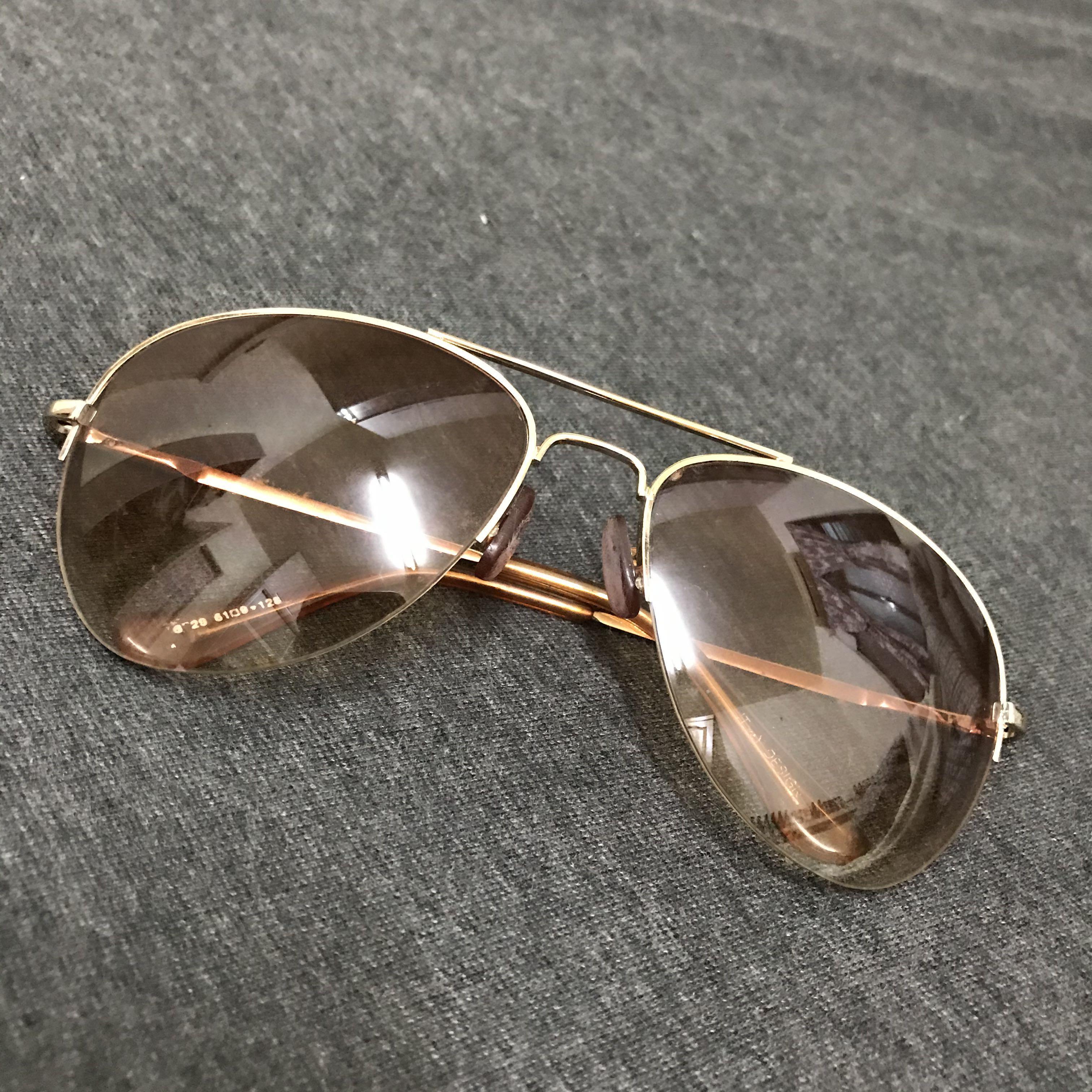 二手優質 墨鏡 鏡面茶色 框架金色  男女皆可戴 九成新