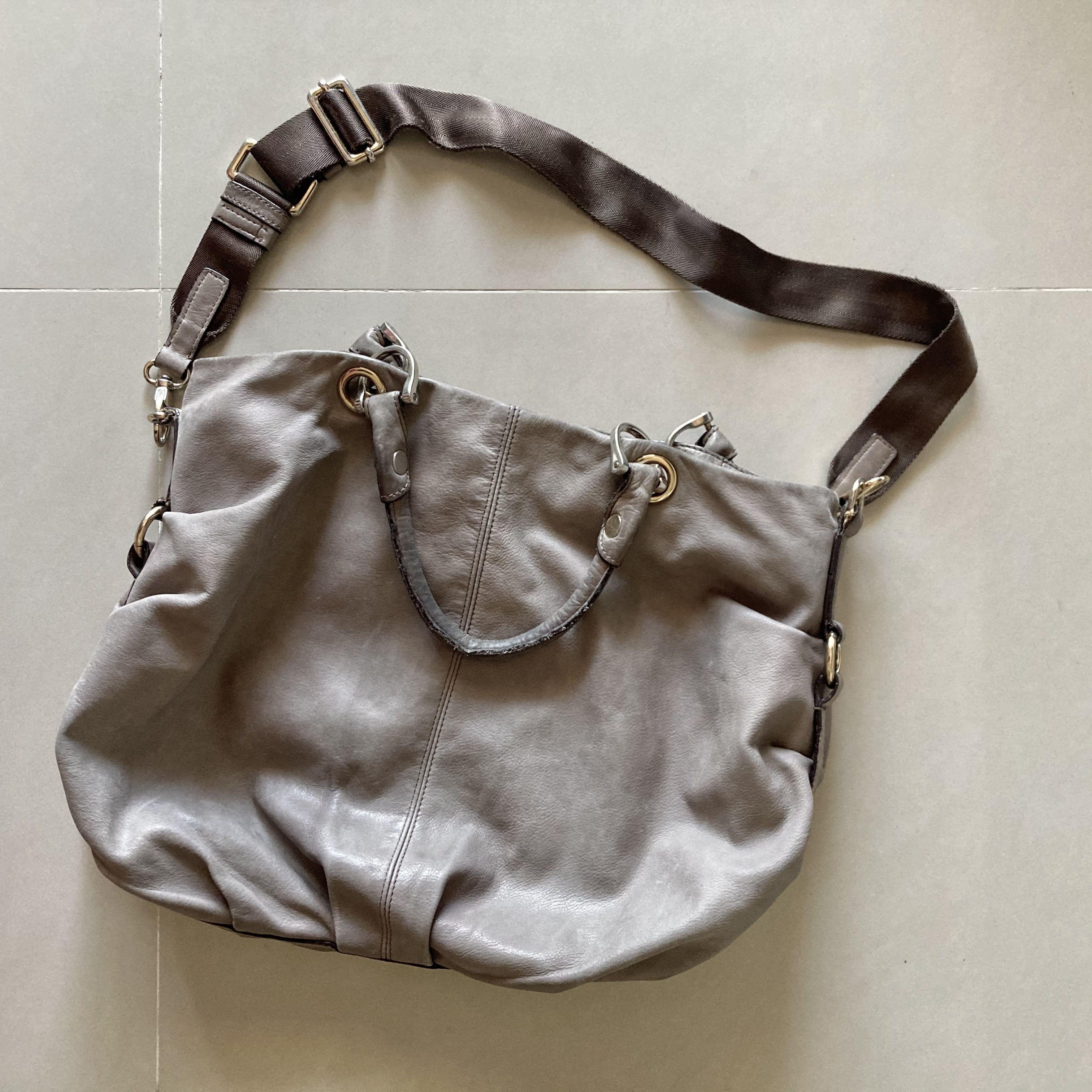 原價破萬💸 RABEANCO 專櫃 灰色真皮大容量手提包 側背包 肩背包 斜跨包 #開運紅 #開工