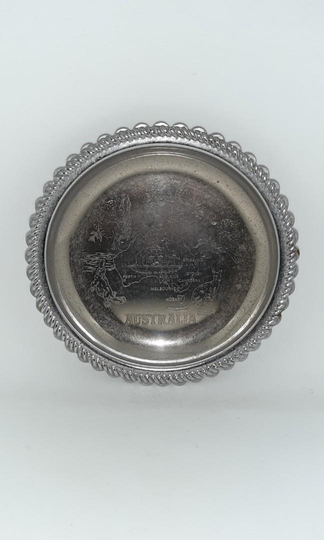 Australia Vintage Collectible Mini  Small Metal Tin Plate Tray  Decorative Display Collection