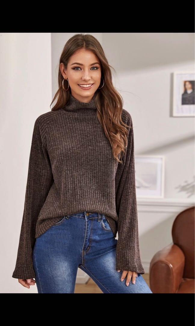 Brown mock neck sweater