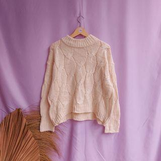 Cable knit mock neck rajut kepang knitwear atasan outer top sweater crewneck turtleneck oversize big size
