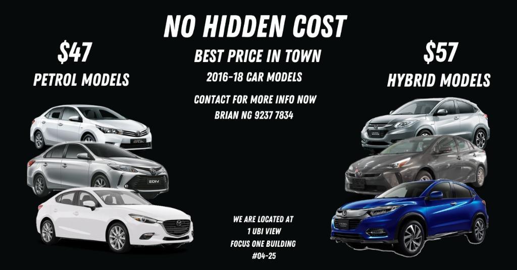 Cheap 2016-18 Car Models for rent