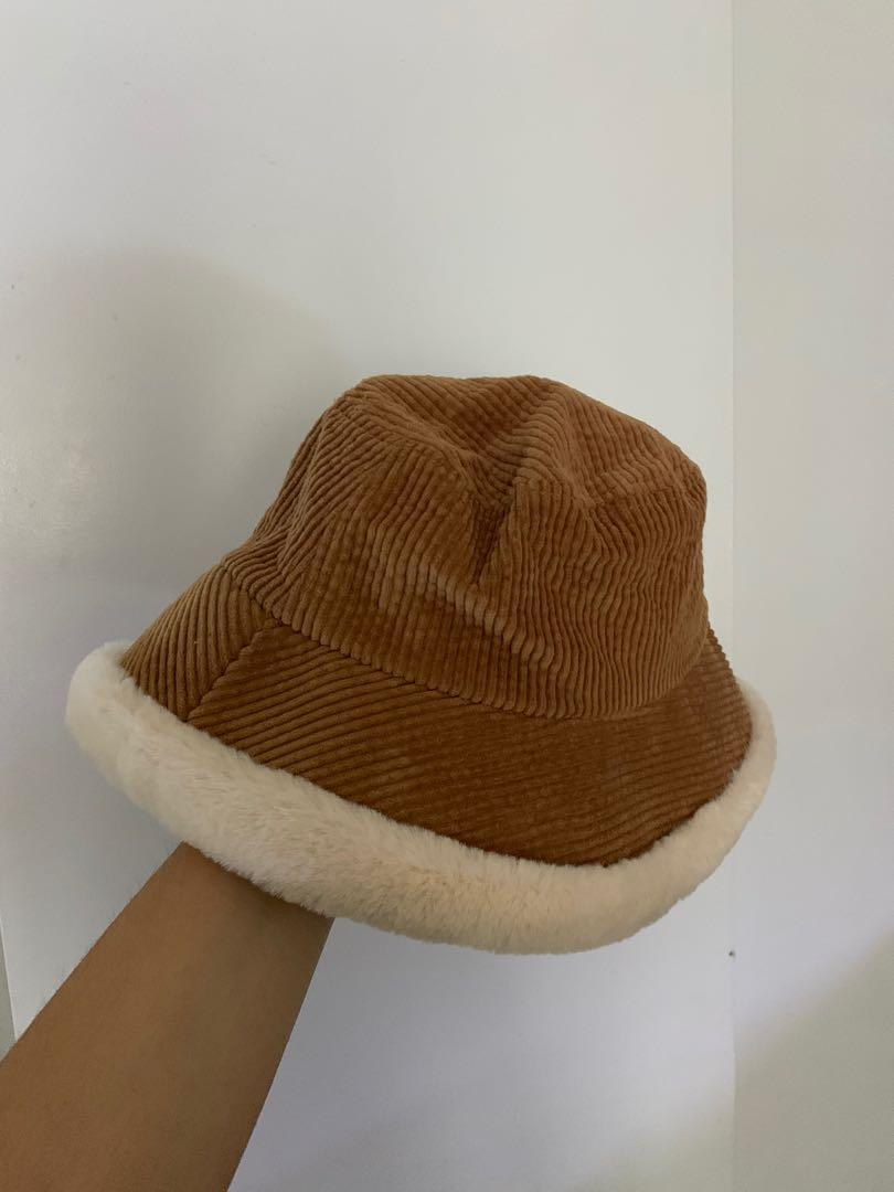 Corduroy fleece lined bucket hat