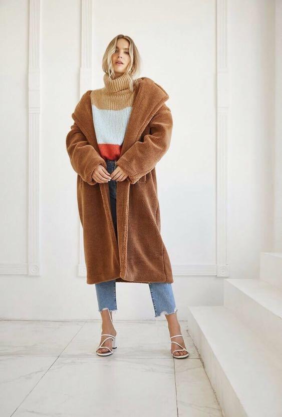 Forever 21 Teddy Bear Faux Fur Coat