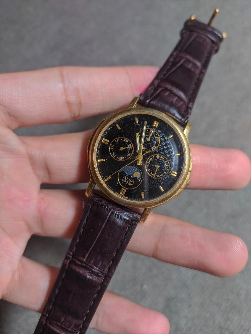 Jam tangan alba moonphase seiko vintage jadul tissot mido automatic omega