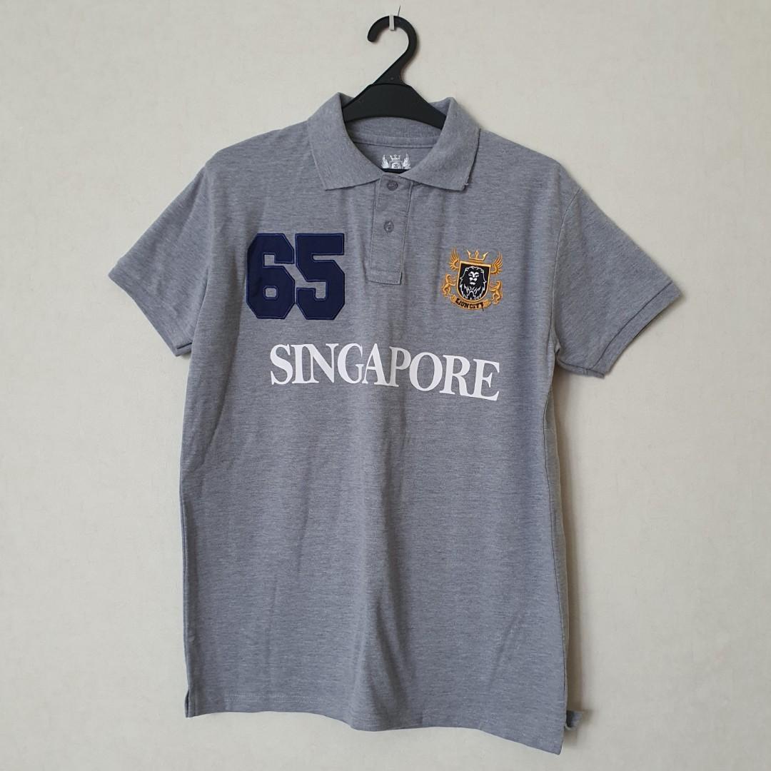 Kaos Men's Guardian Angel Gray Polo Singapore Lion City