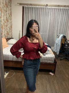 Korean maroon blouse#Bersihmaret
