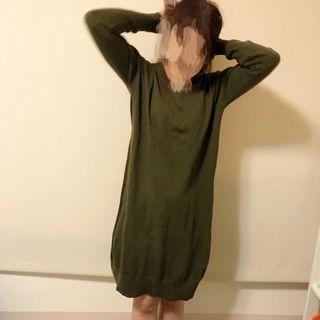 Lowrys Farm 針織長版毛衣 圓領針織毛衣 針織長毛衣洋裝 連身毛衣 M