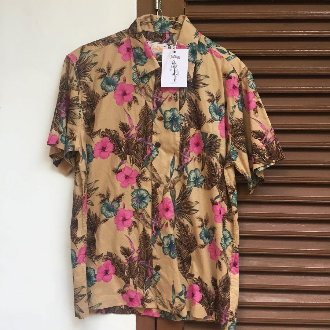 New TROPIC THUNDER VINTAGE  Hawaiian Floral Printed Shirt / Kemeja Pantai