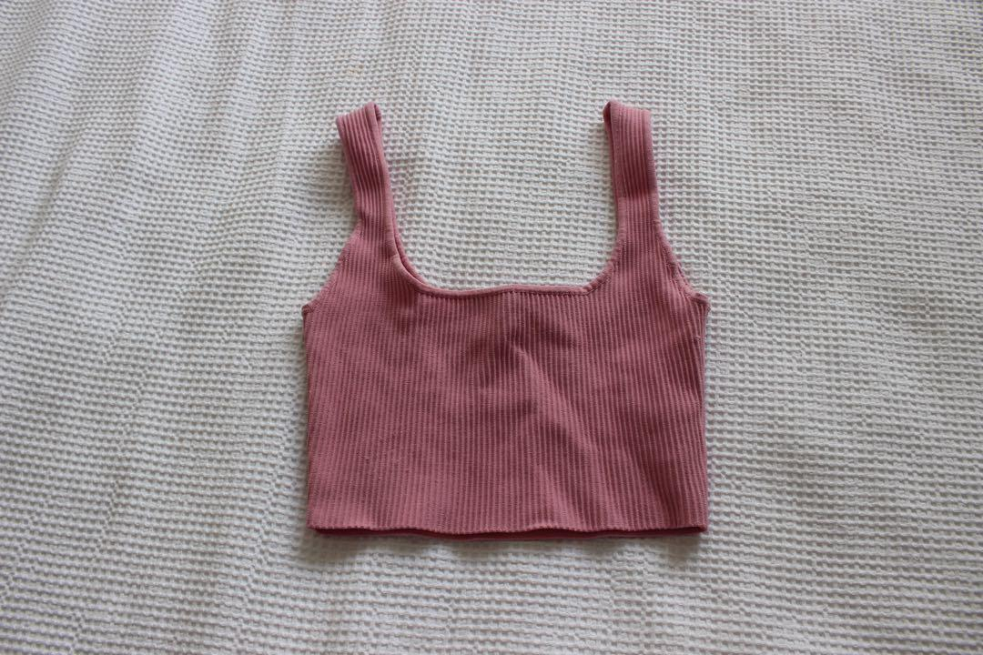 Pink glassons ribbed crop