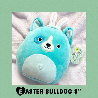 "Spring Teal Bunny Ears Bulldog Squishmallows Dog 8"" Plush 2021"