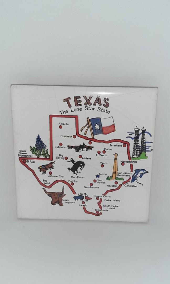 Texas The Lone Star State Decorative Collectible Ceramic Decor Coaster Collection
