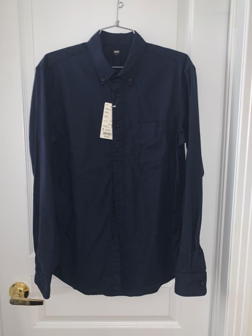 Uniqlo Solid Navy Flannel Shirt - Sz S