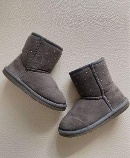 二手嬰幼女童19cm鑽石加絨灰色雪靴