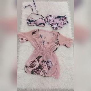 3pieces set bikini rose pink