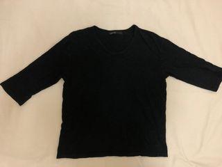 七分袖黑色棉質上衣(贈)
