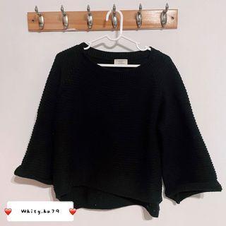 女 Airspace 黑色簡約寬鬆七分袖上衣