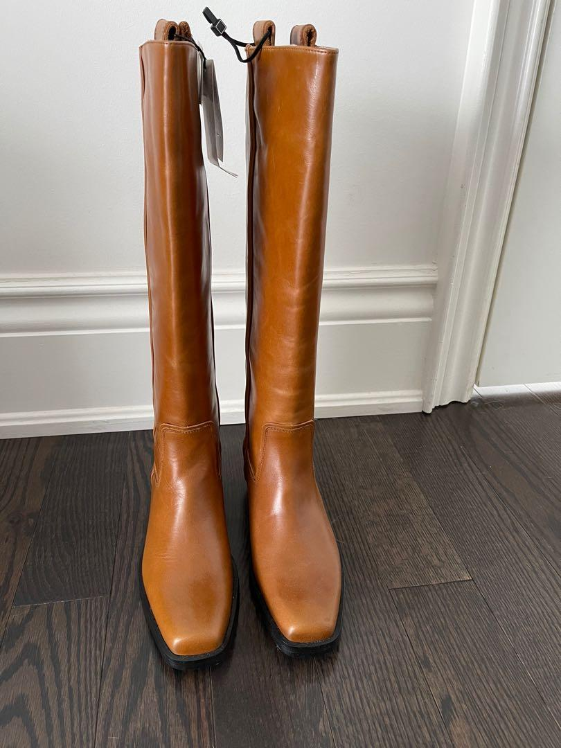 BRAND NEW - Brown knee high leather boots