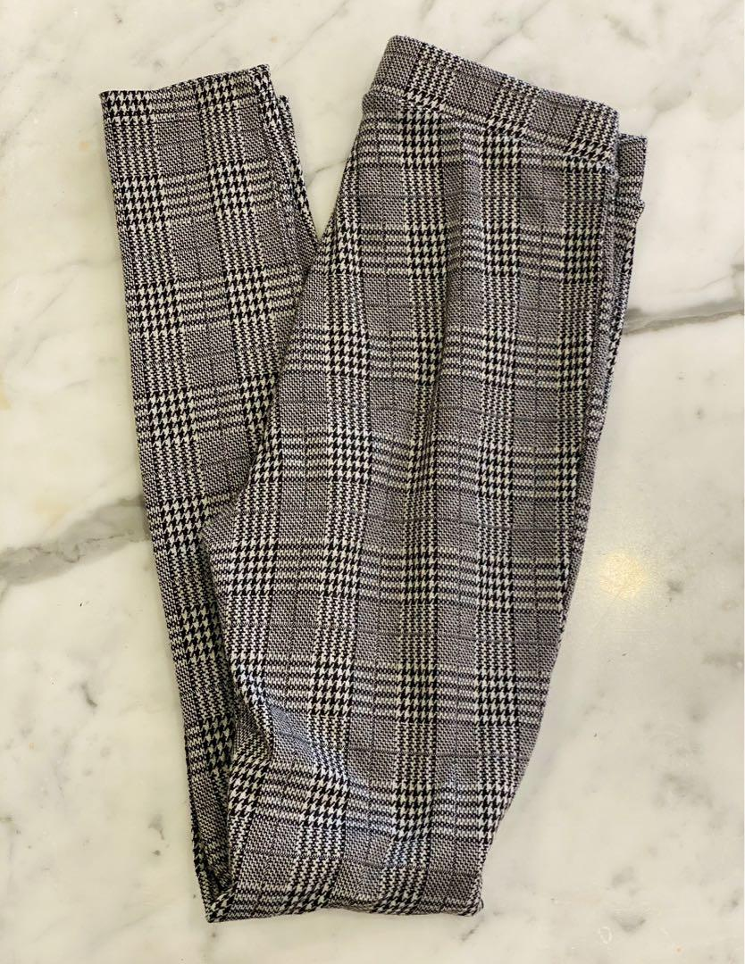 BRAND NEW BRANDY MELVILLE GREY PLAID PANTS