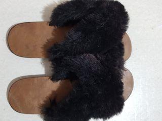 Fur black Slip Ons