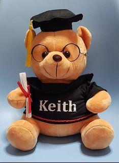 Graduation teddy bear (25cm). Personalised customised print. Gifts Florist Kindergarten Pre School