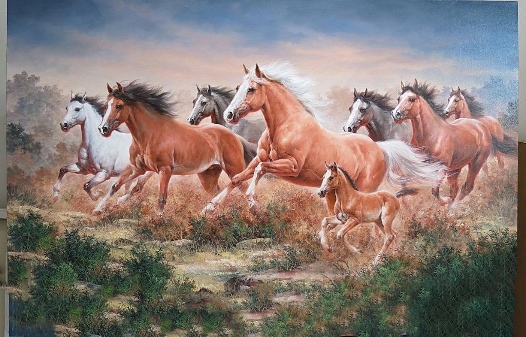lukisan kanvas kuda 90 x 130 cm