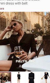 NWT Zara linen blend blazer mini dress with belt
