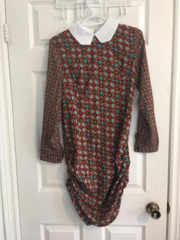 Patterned ruched dress XS