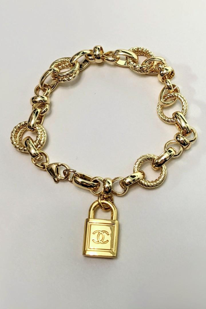 Authentic Chanel Pendant Upcycled onto a 24K gold filled chunky chain bracelet