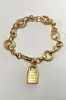 Authentic Vintage Chanel pendant upcycled bracelet - 24k gold filled chunky bracelet