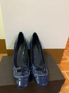 Bottega veneta 藍亮面皮粗高跟鞋 真品