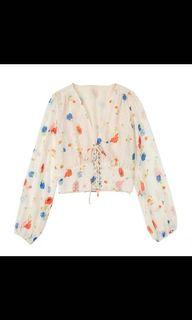 To Bless: Floral Crop Long Sleeved Top