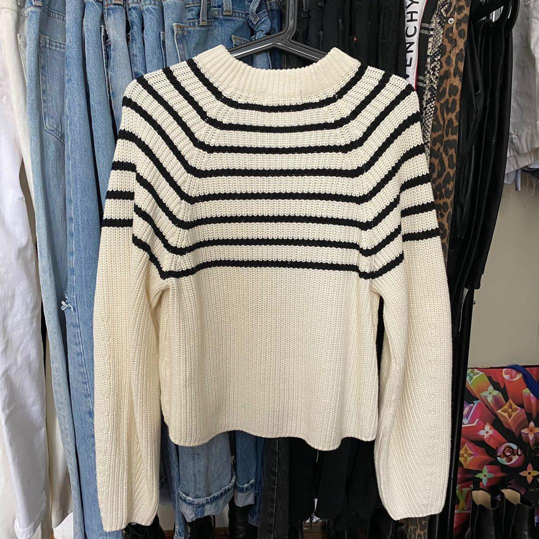 H&M black and white striped knit sweater