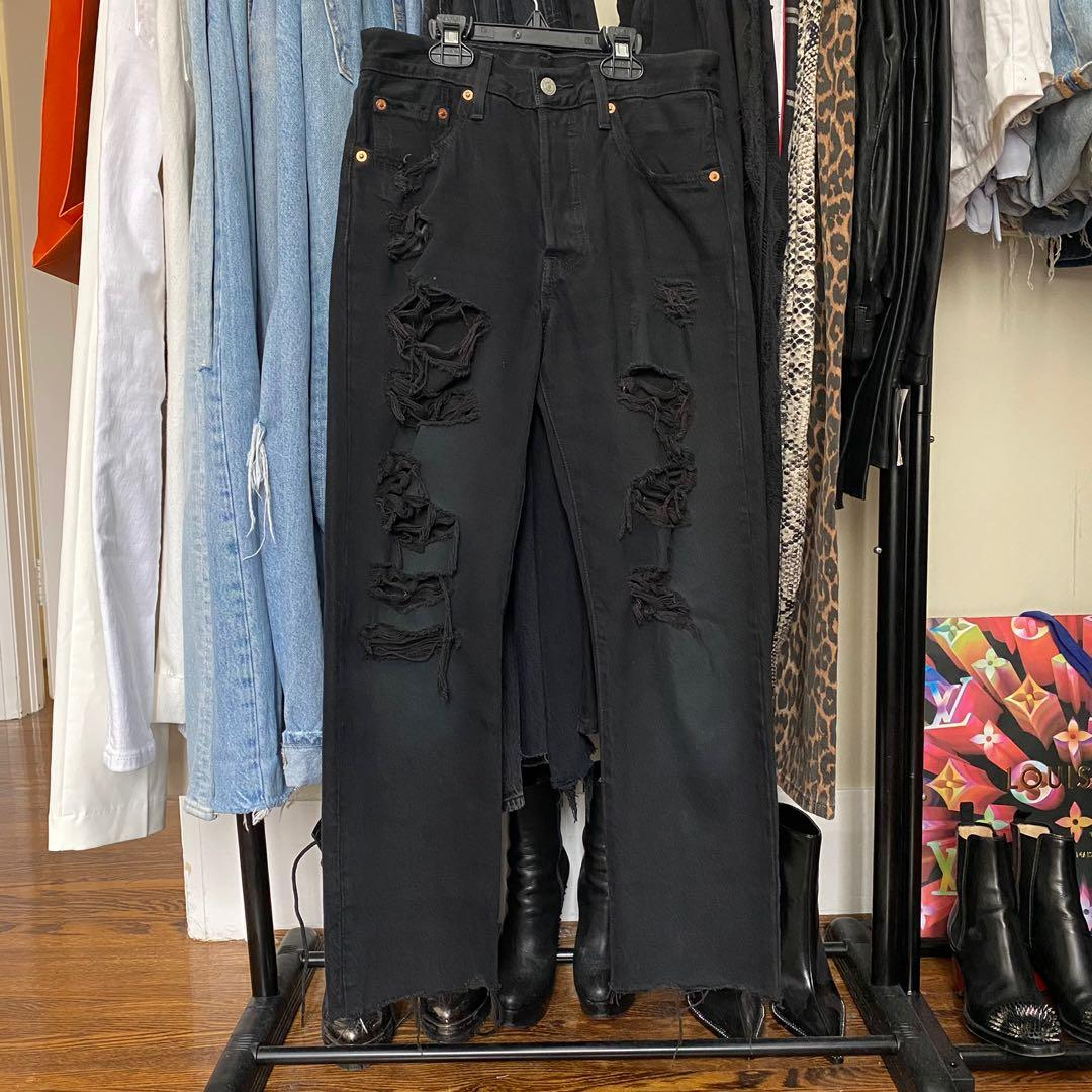 Levi 501 black distressed jeans