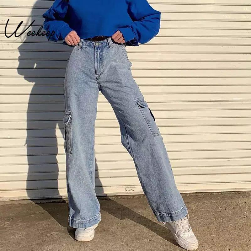 Patchwork High Waist Jeans Women Streetwear Straight Jean Cargo Pants