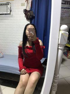 Red Sexy Ribbed Offshoulder Dress