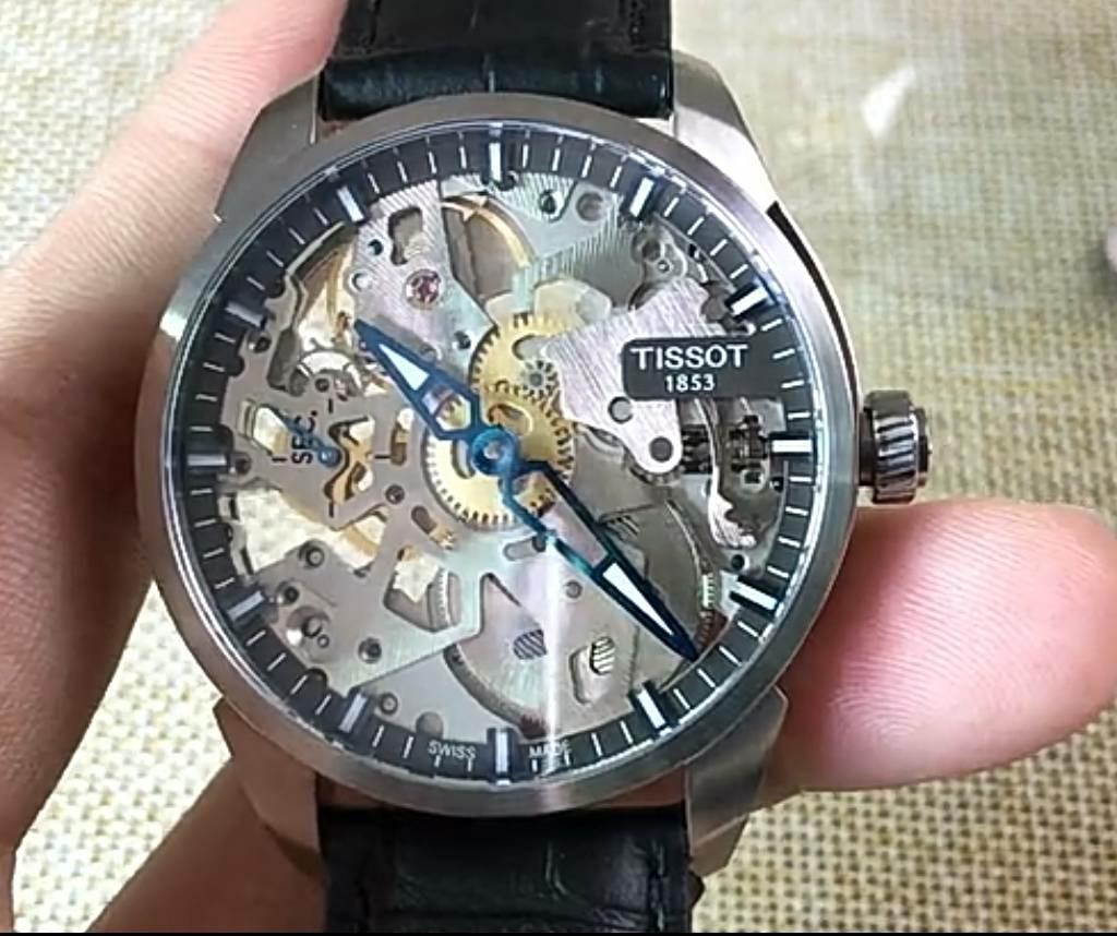 Tissot 天梭天匠鏤空皮帶機械男腕錶 T0704051641100