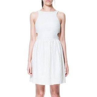 Zara Jacquard Pattern Cut out dress