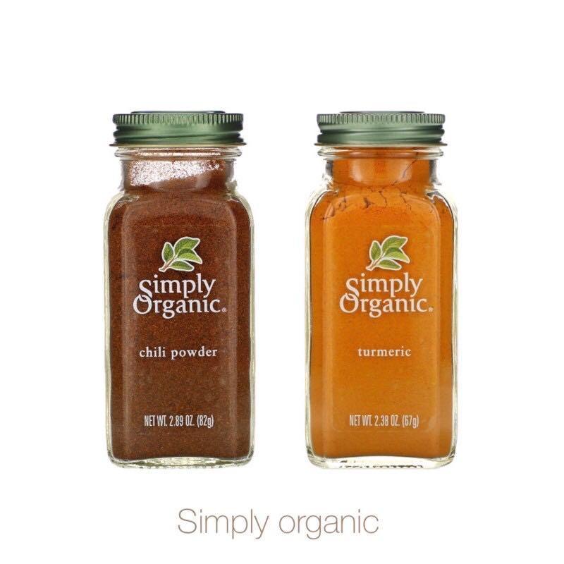 美國 Simply organic 有機辣椒、薑黃粉🌶️chili powder,82g / turmeric,67g