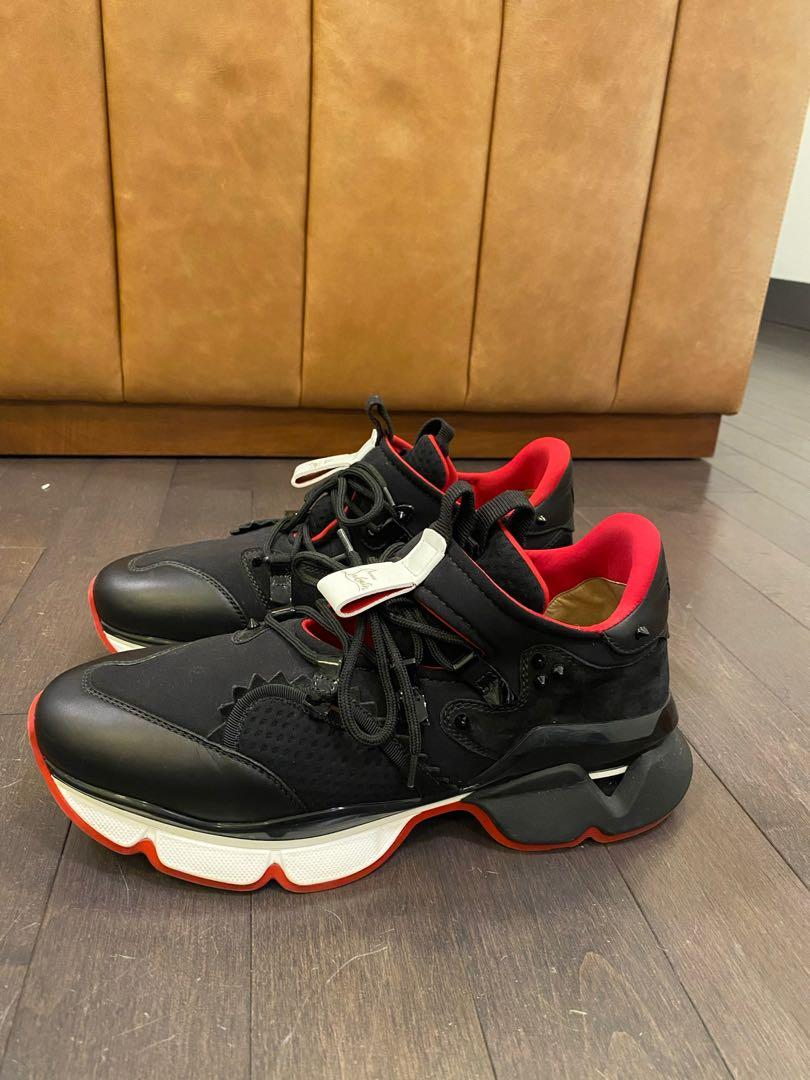 Christian louboutin red runner black red sneakers