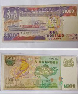 Ship series $1k and bird series $500 note, both @$1680.