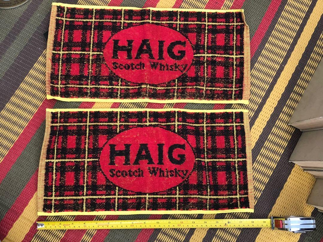 Two vintage Haig Scotch Whisky bar towels