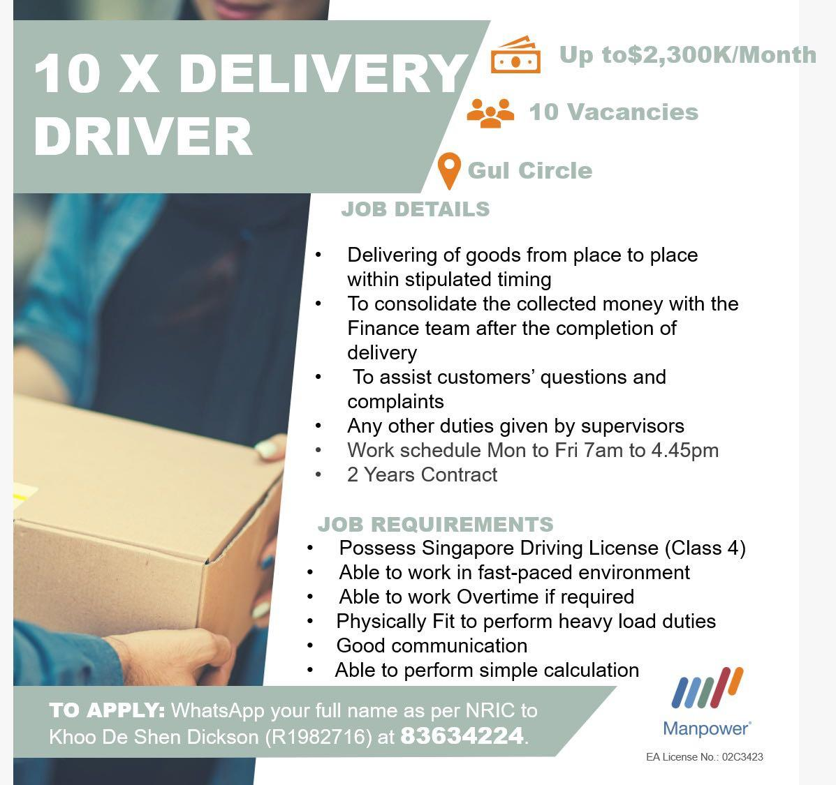 Up to $2.3k per Month 10 X Delivery Driver /Tuas/2 years